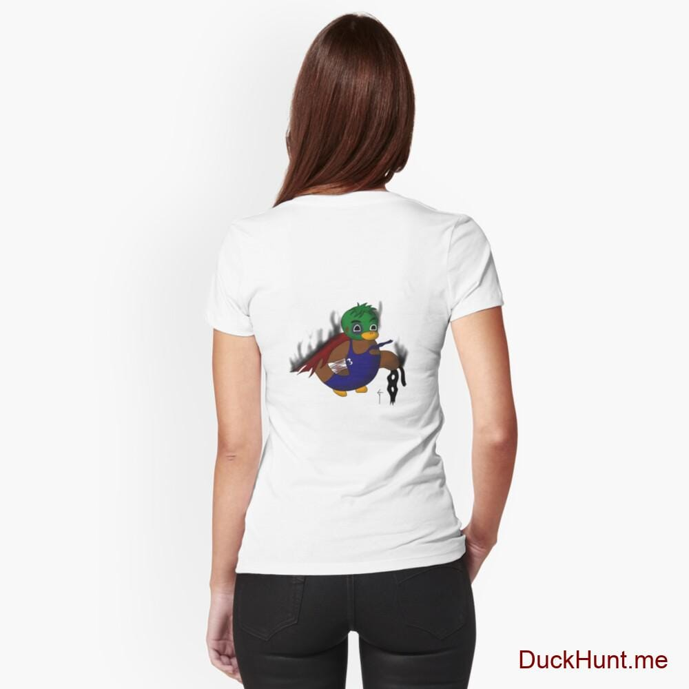Dead Boss Duck (smoky) White Fitted V-Neck T-Shirt (Back printed)