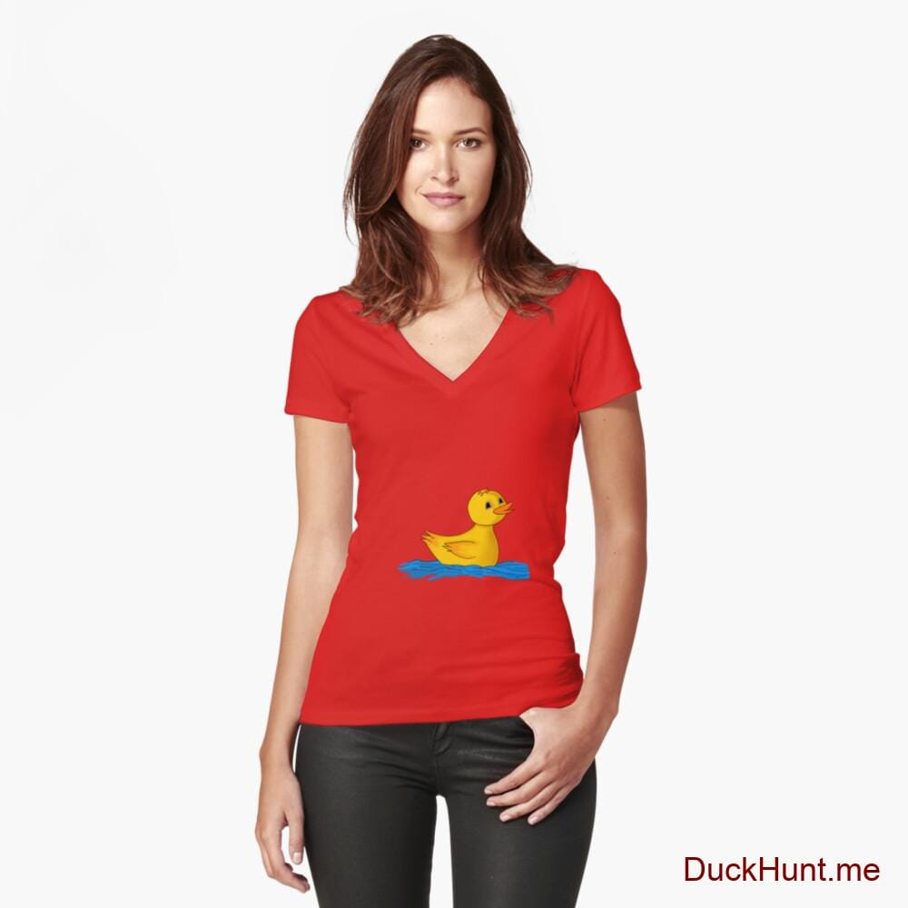 Plastic Duck Red Fitted V-Neck T-Shirt (Front printed)