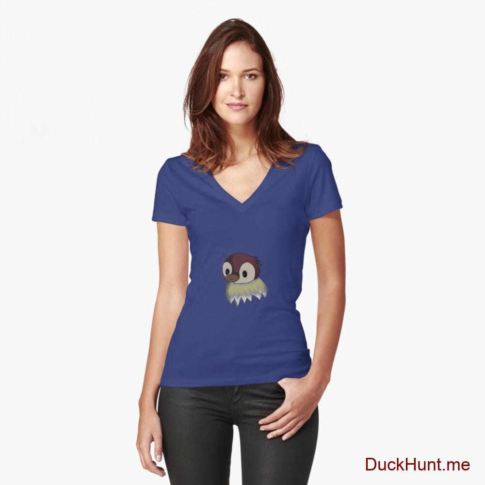 Ghost Duck (fogless) Blue Fitted V-Neck T-Shirt (Front printed)