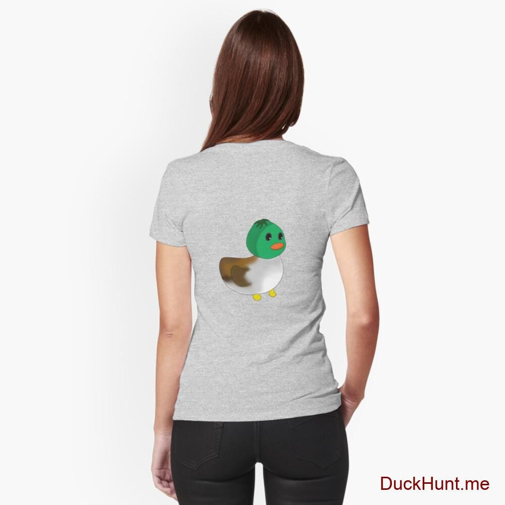 Normal Duck Heather Grey Fitted V-Neck T-Shirt (Back printed)