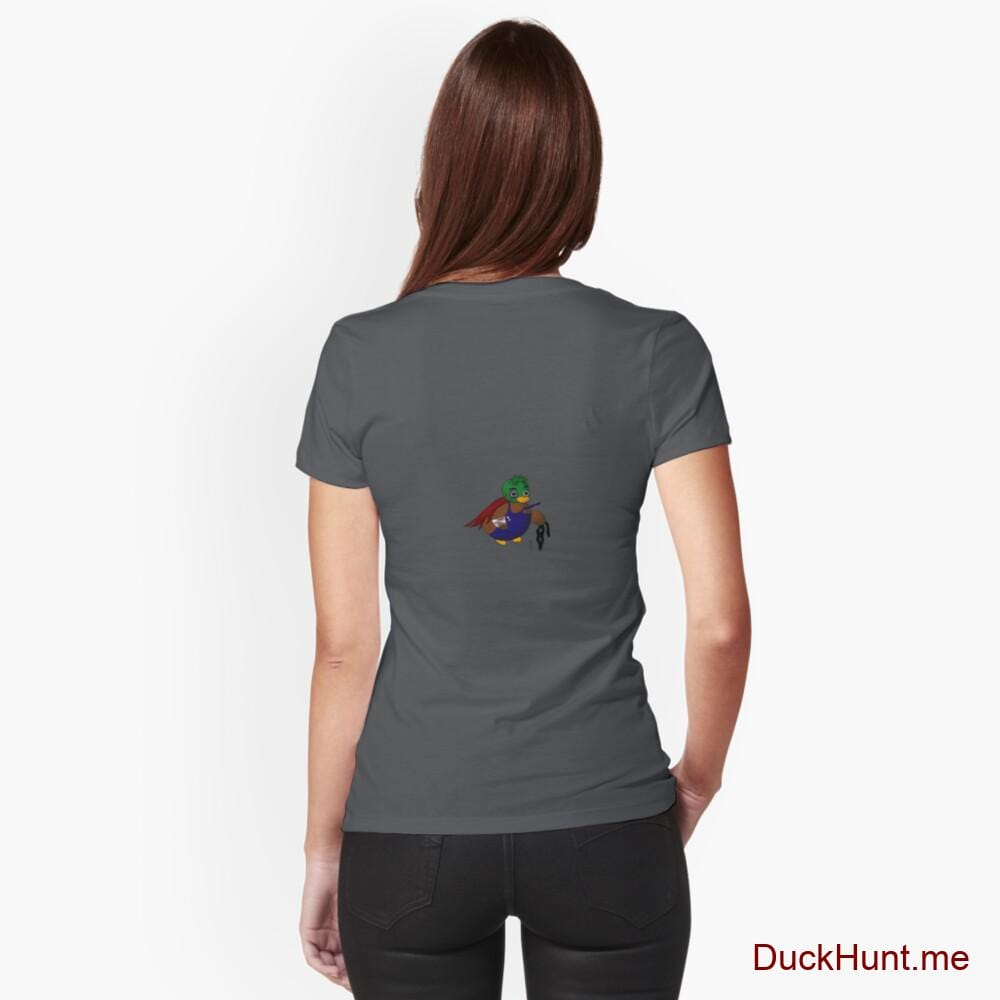 Dead DuckHunt Boss (smokeless) Dark Grey Fitted V-Neck T-Shirt (Back printed)
