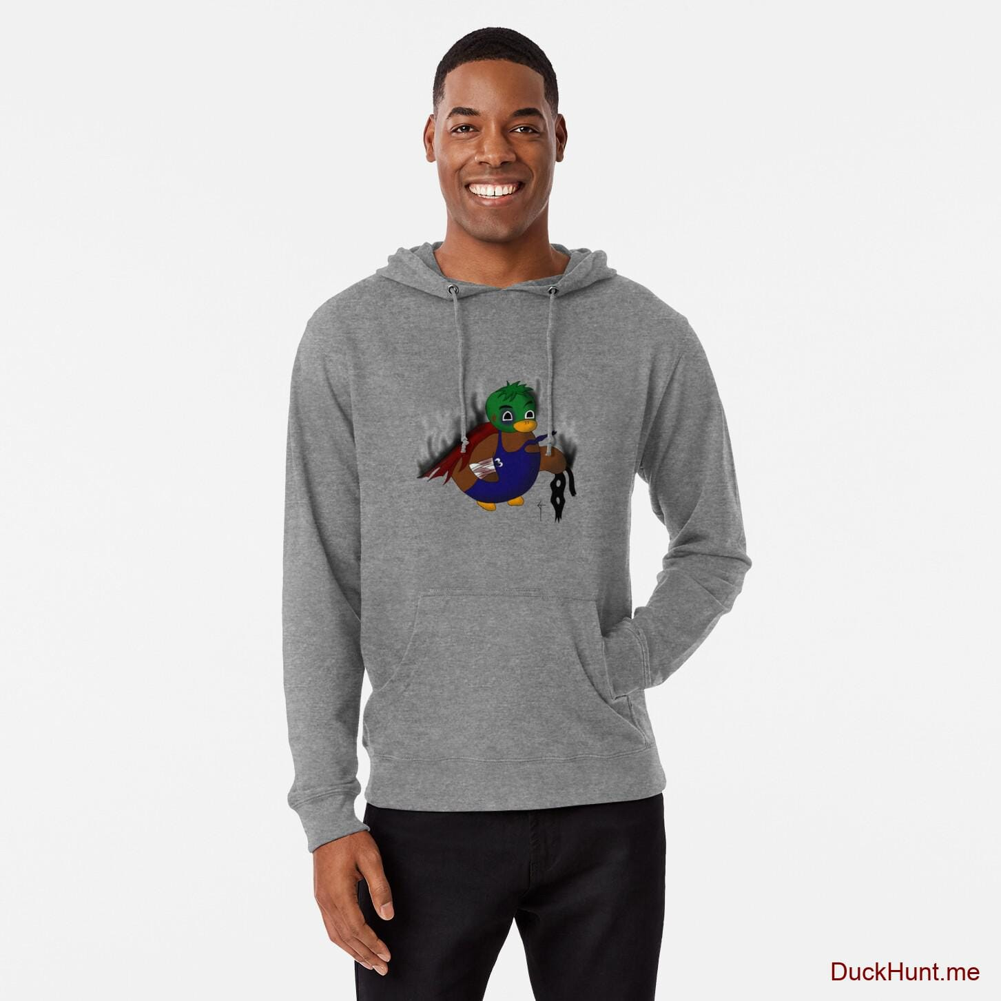 Dead Boss Duck (smoky) Grey Lightweight Hoodie (Front printed)