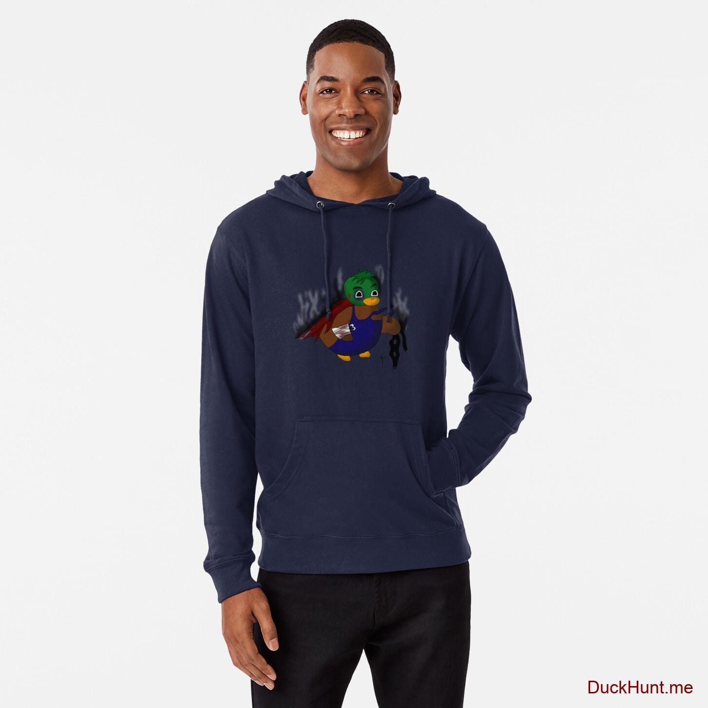 Dead Boss Duck (smoky) Navy Lightweight Hoodie (Front printed)