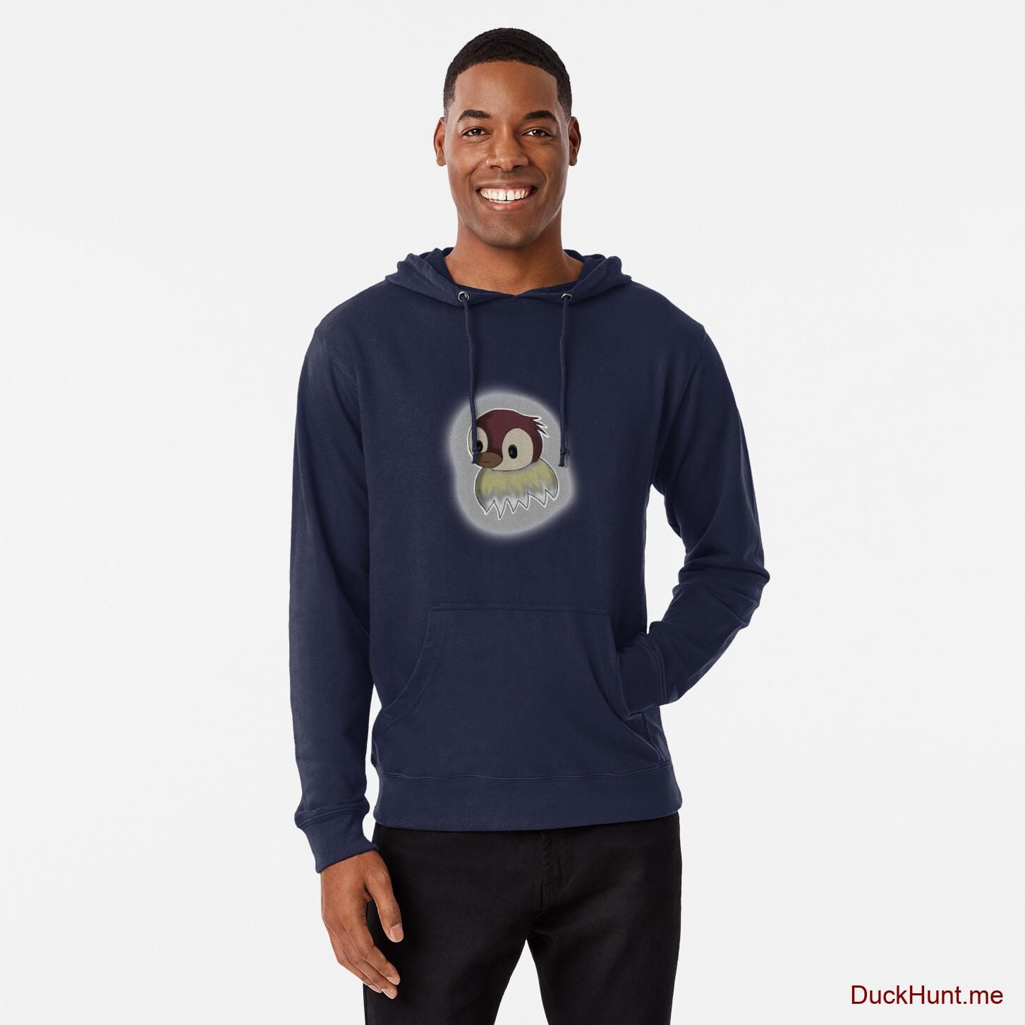 Ghost Duck (foggy) Navy Lightweight Hoodie (Front printed)