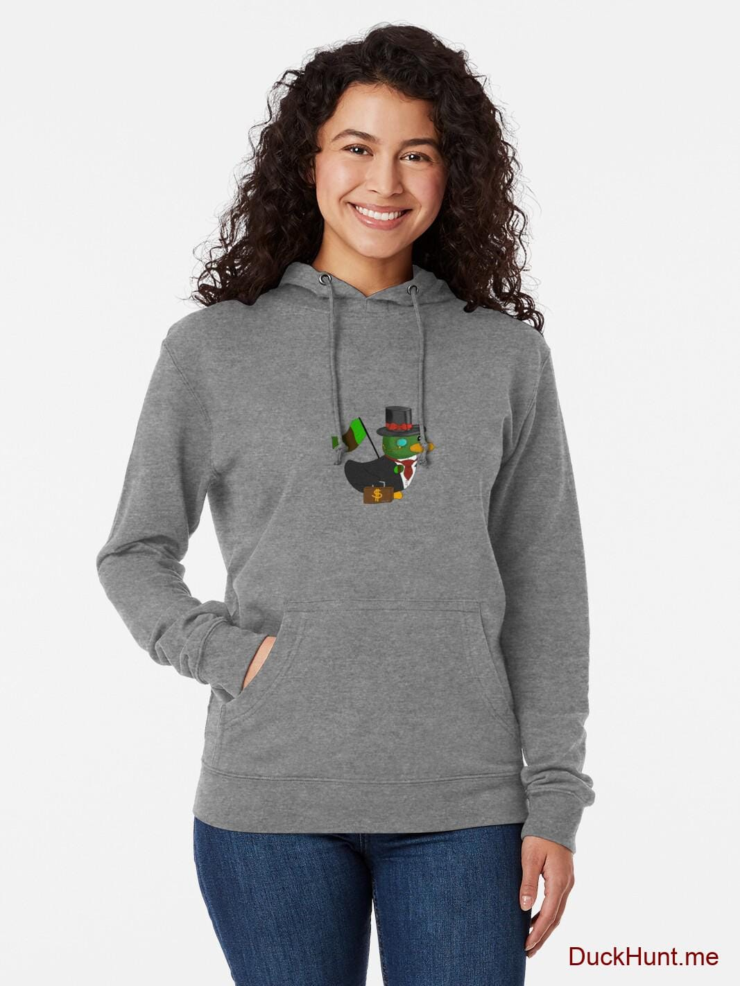 Golden Duck Grey Lightweight Hoodie (Front printed) alternative image 1