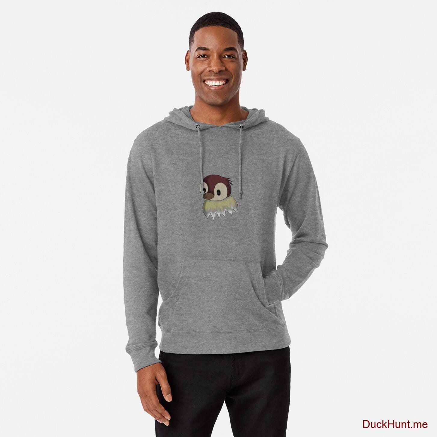 Ghost Duck (fogless) Grey Lightweight Hoodie (Front printed)
