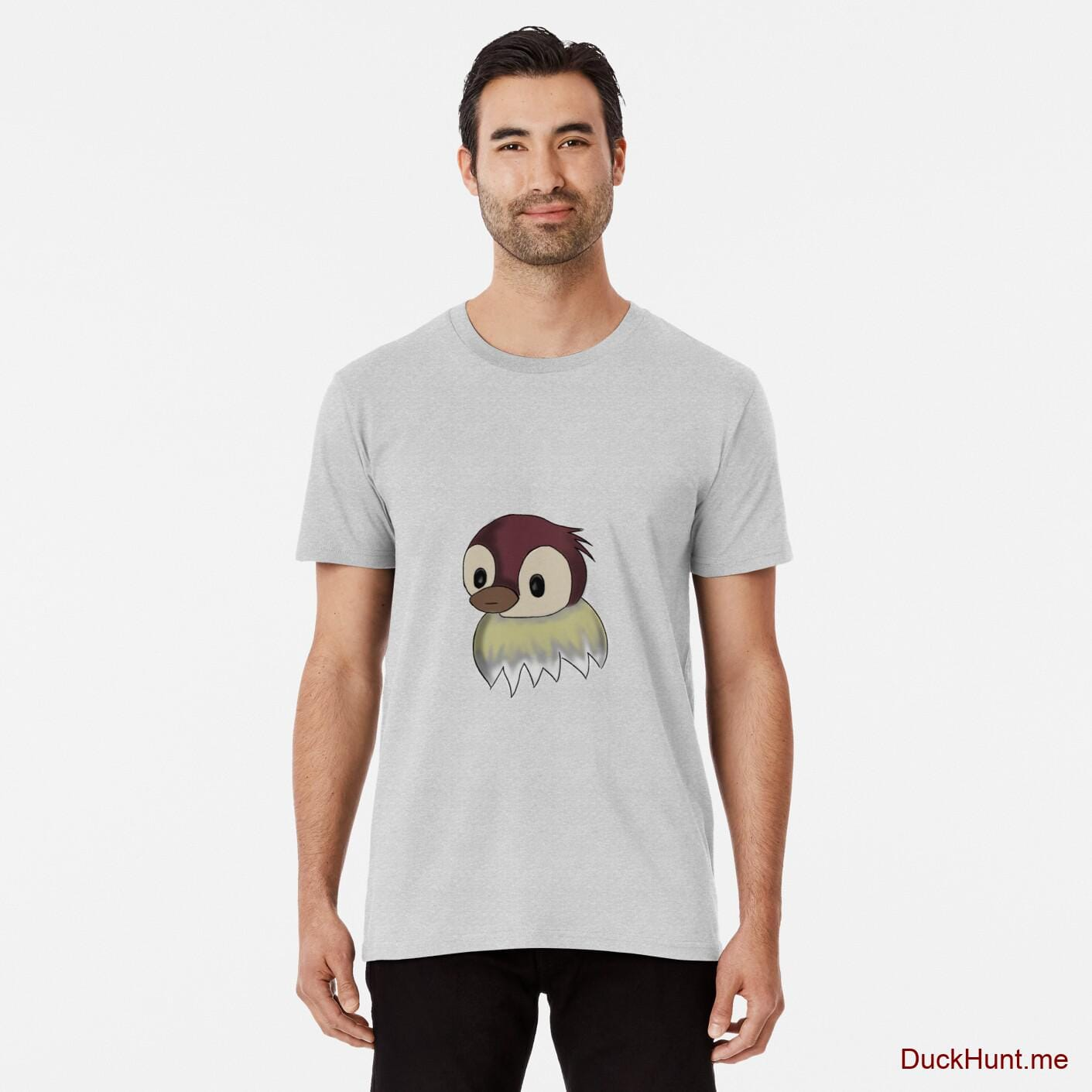 Ghost Duck (fogless) Heather Grey Premium T-Shirt (Front printed)