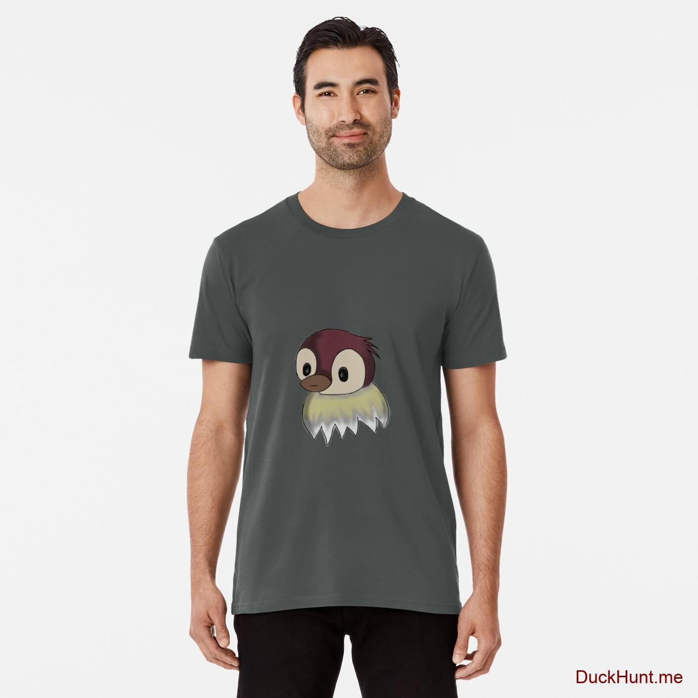 Ghost Duck (fogless) Dark Grey Premium T-Shirt (Front printed)