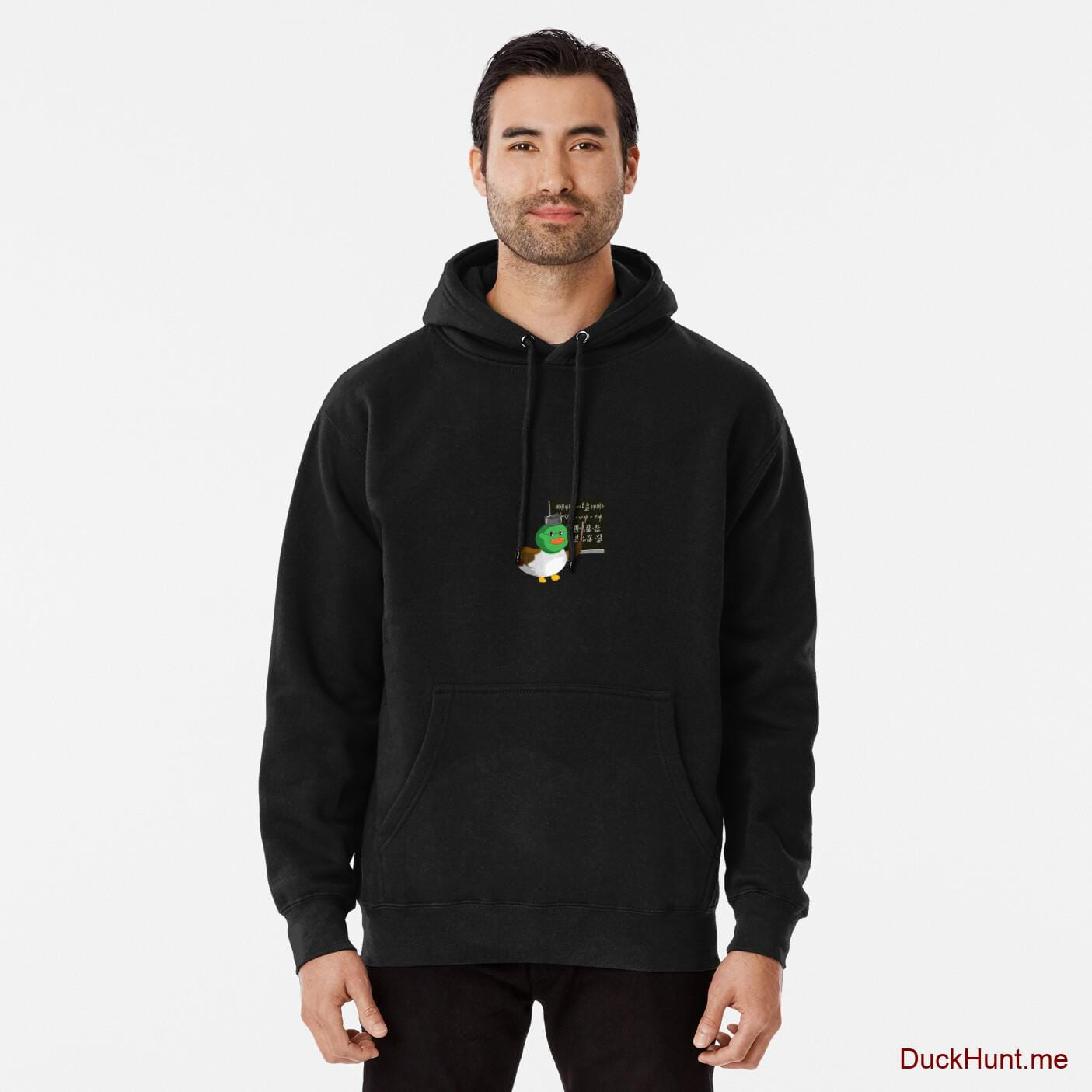 Prof Duck Black Pullover Hoodie (Front printed)