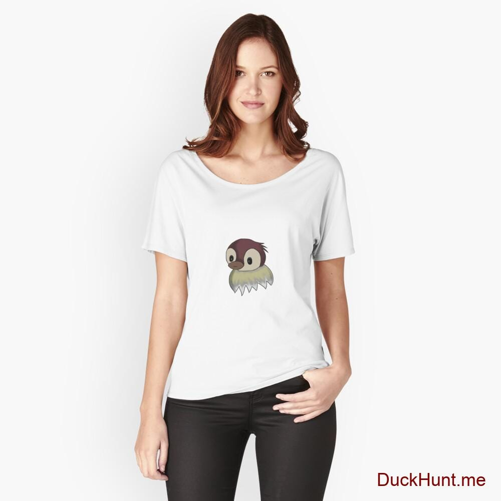 Ghost Duck (fogless) White Relaxed Fit T-Shirt (Front printed)