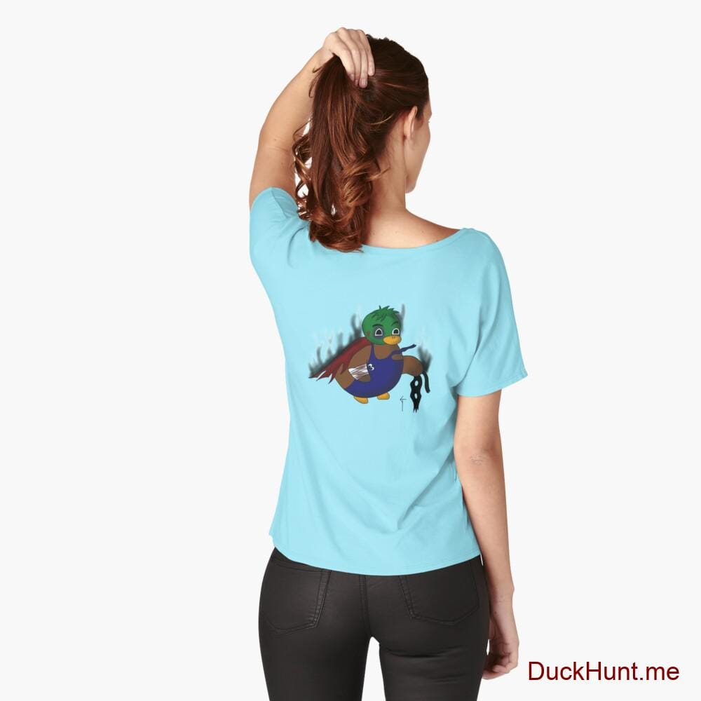 Dead Boss Duck (smoky) Turquoise Relaxed Fit T-Shirt (Back printed)