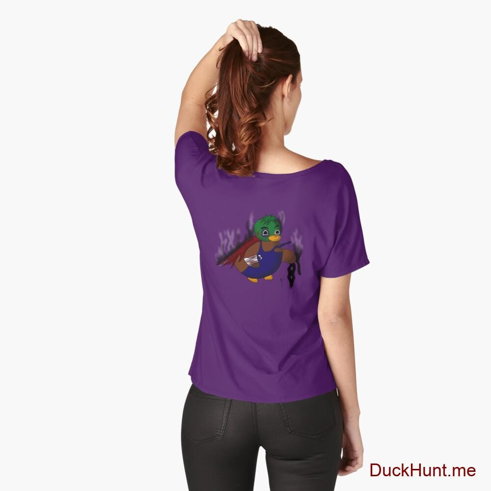 Dead Boss Duck (smoky) Purple Relaxed Fit T-Shirt (Back printed)