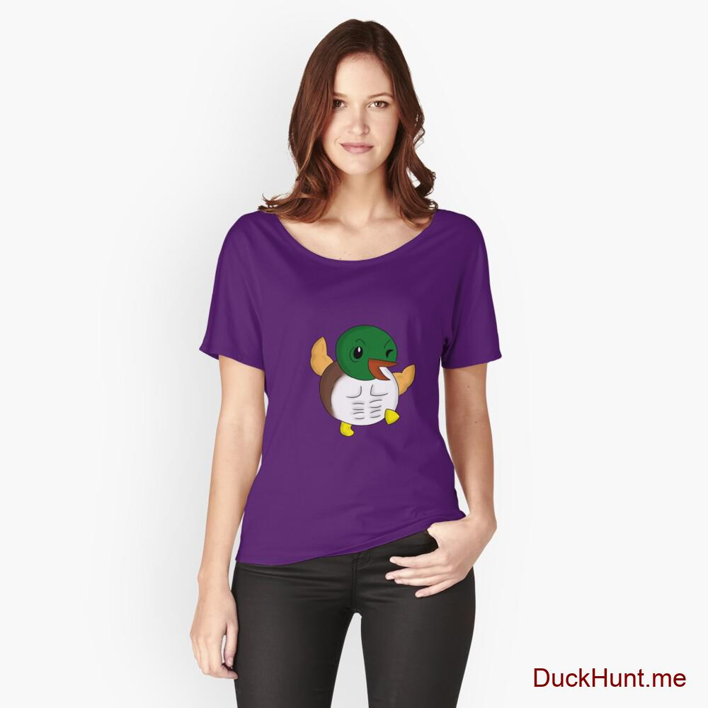 Super duck Purple Relaxed Fit T-Shirt (Front printed)