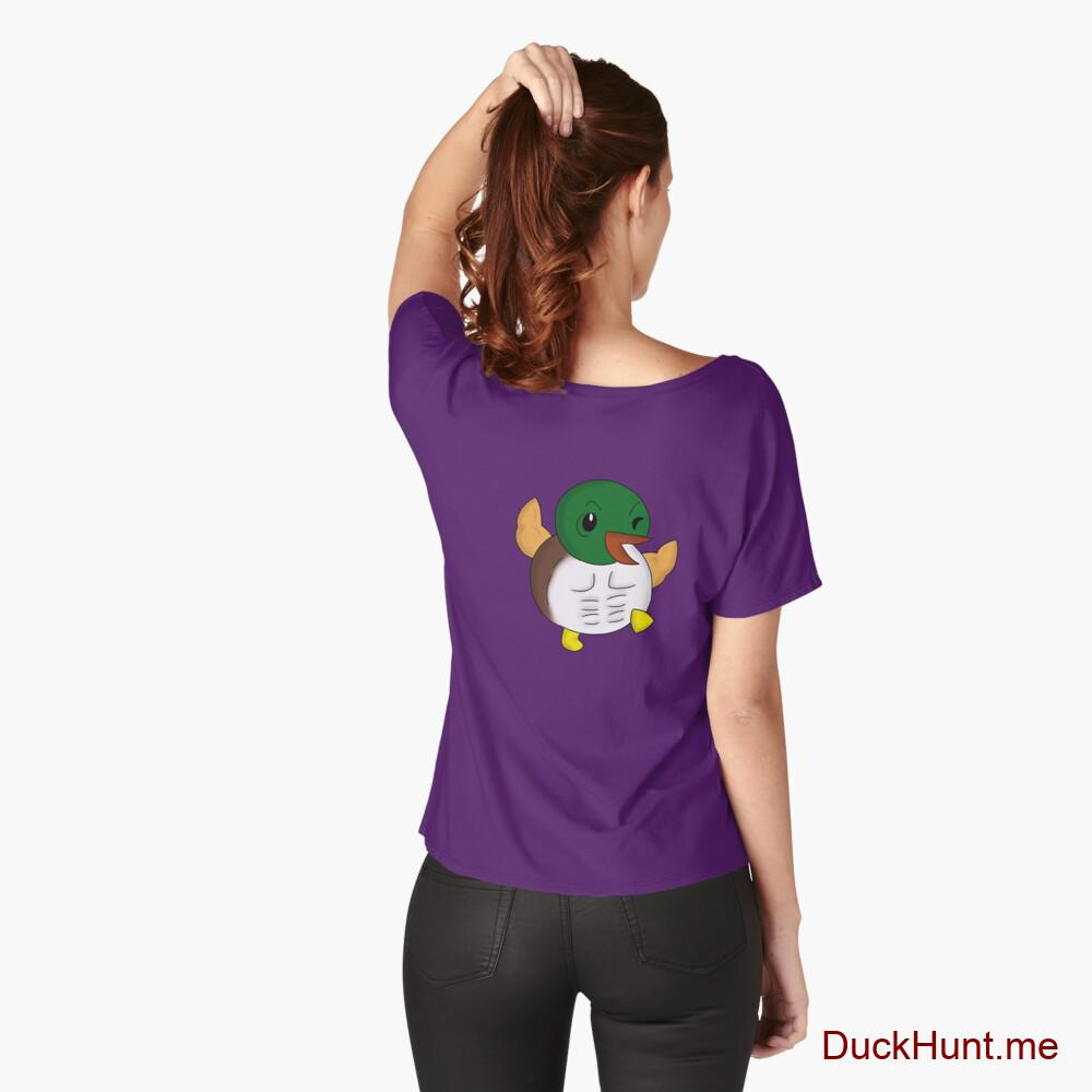 Super duck Purple Relaxed Fit T-Shirt (Back printed)