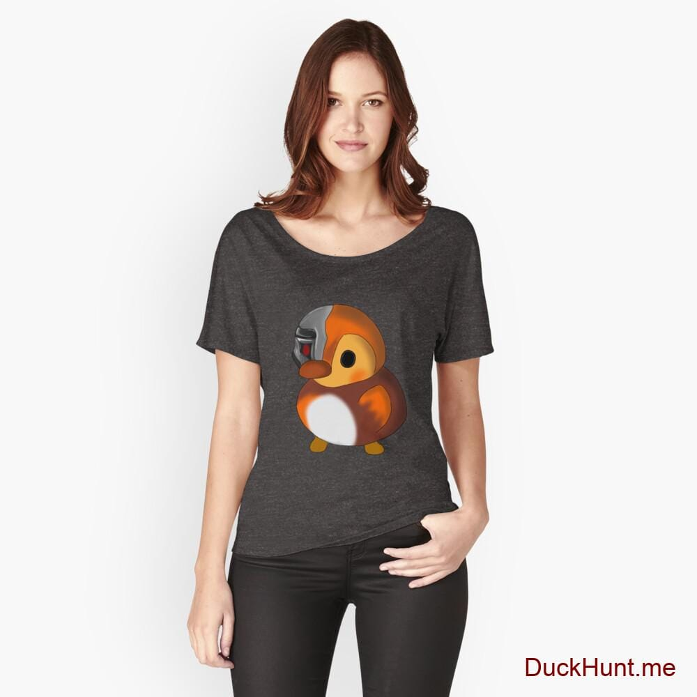 Mechanical Duck Charcoal Heather Relaxed Fit T-Shirt (Front printed)
