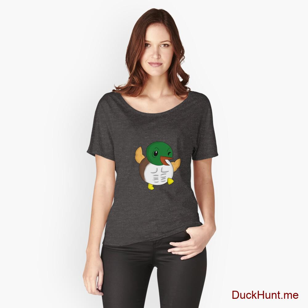 Super duck Charcoal Heather Relaxed Fit T-Shirt (Front printed)
