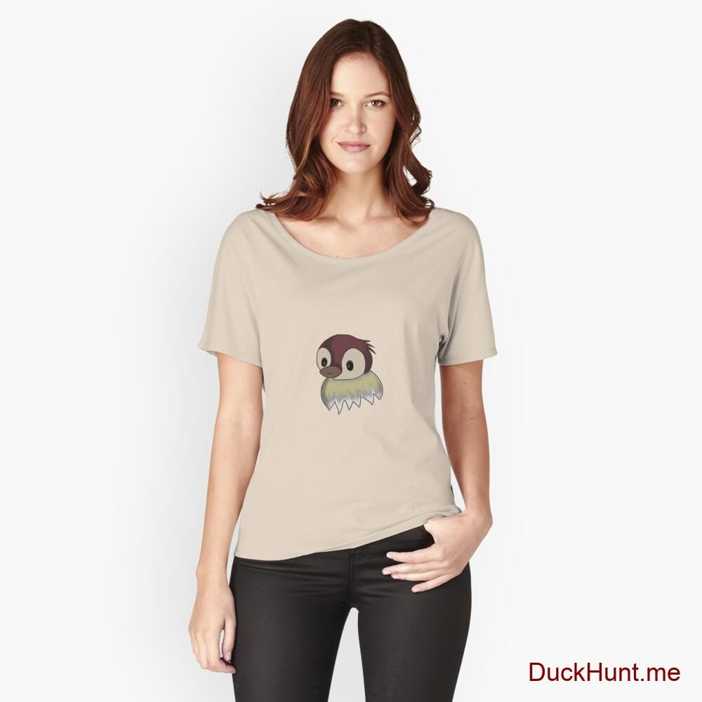 Ghost Duck (fogless) Creme Relaxed Fit T-Shirt (Front printed)