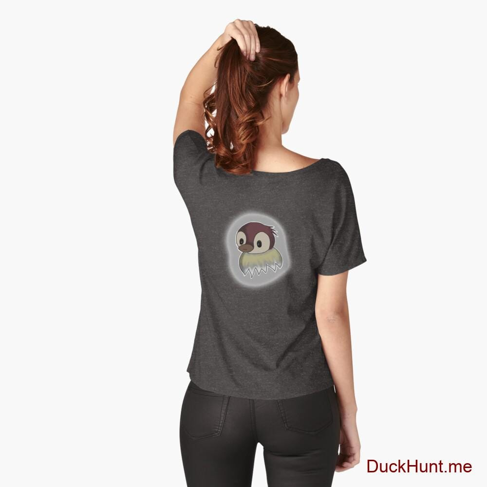 Ghost Duck (foggy) Charcoal Heather Relaxed Fit T-Shirt (Back printed)