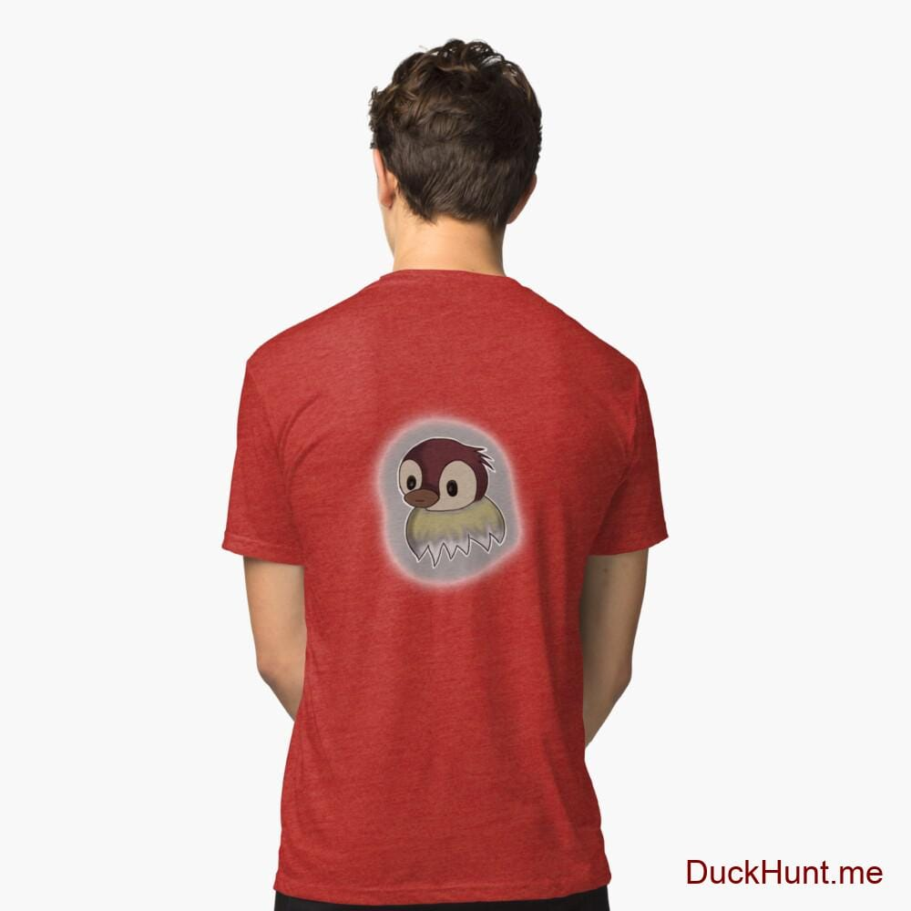 Ghost Duck (foggy) Red Tri-blend T-Shirt (Back printed)