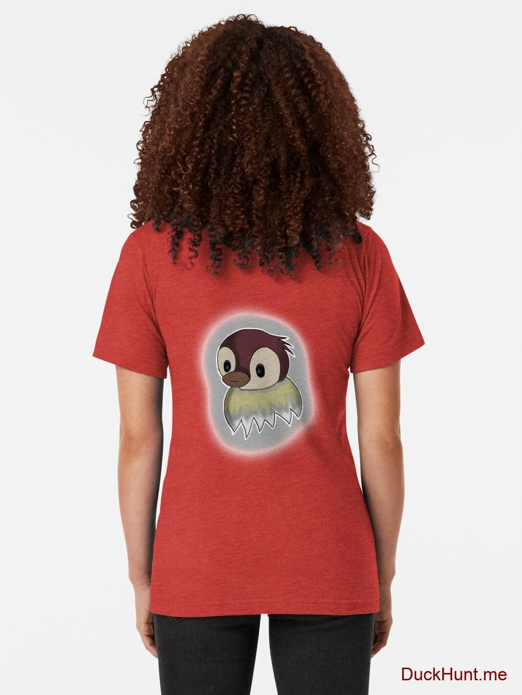 Ghost Duck (foggy) Red Tri-blend T-Shirt (Back printed) alternative image 1